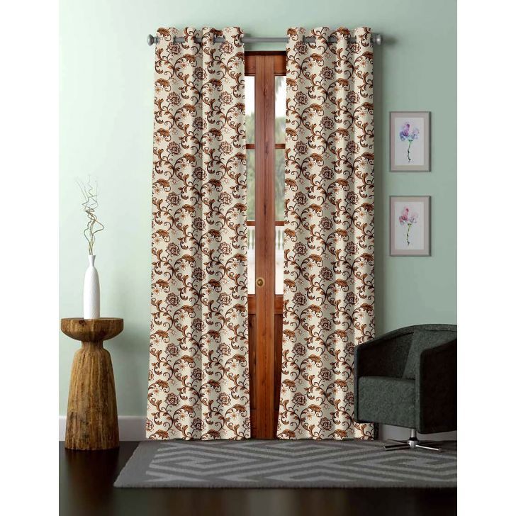 Floral Print Polyester Door Curtain in Brown Colour by Easy Life