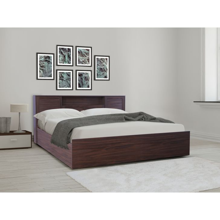 Bolton Engineered Wood King bed with Hydraulic storage in Walnut Colour by HomeTown