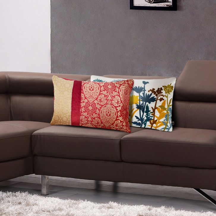 Royale Patch Brocade Cushion Covers in Maroon Colour by Living Essence