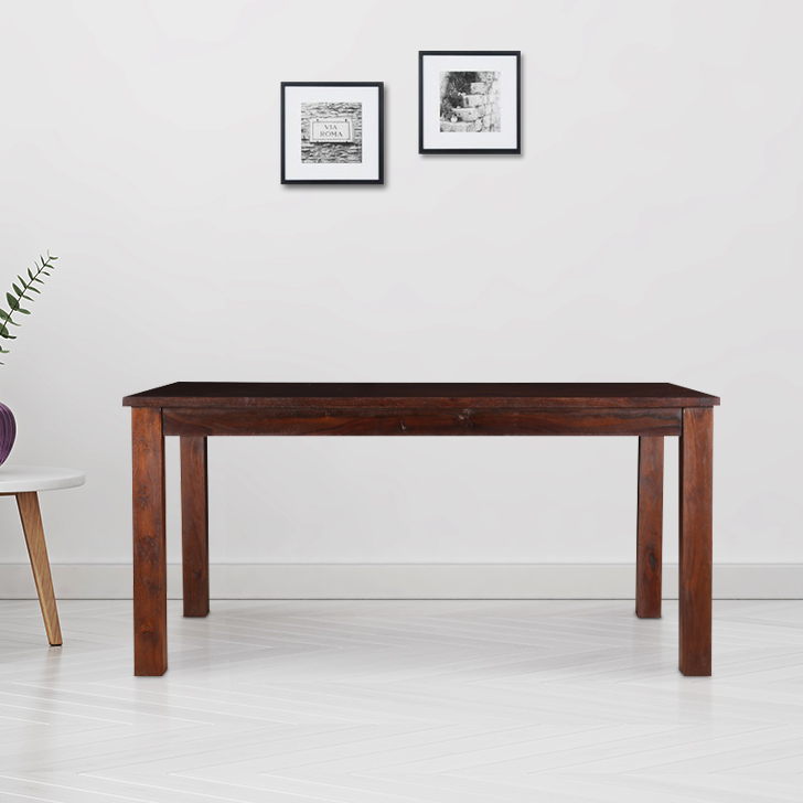 Java Solid Wood Six Seater Dining Table in Light Brown Colour by HomeTown