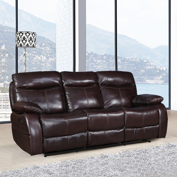 Russel Half Leather Three Seater Recliner in Dark Brown Color by HomeTown