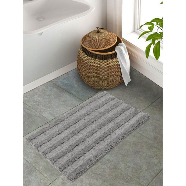 Spaces Polyester Bath Mat in Pewter Colour by Spaces