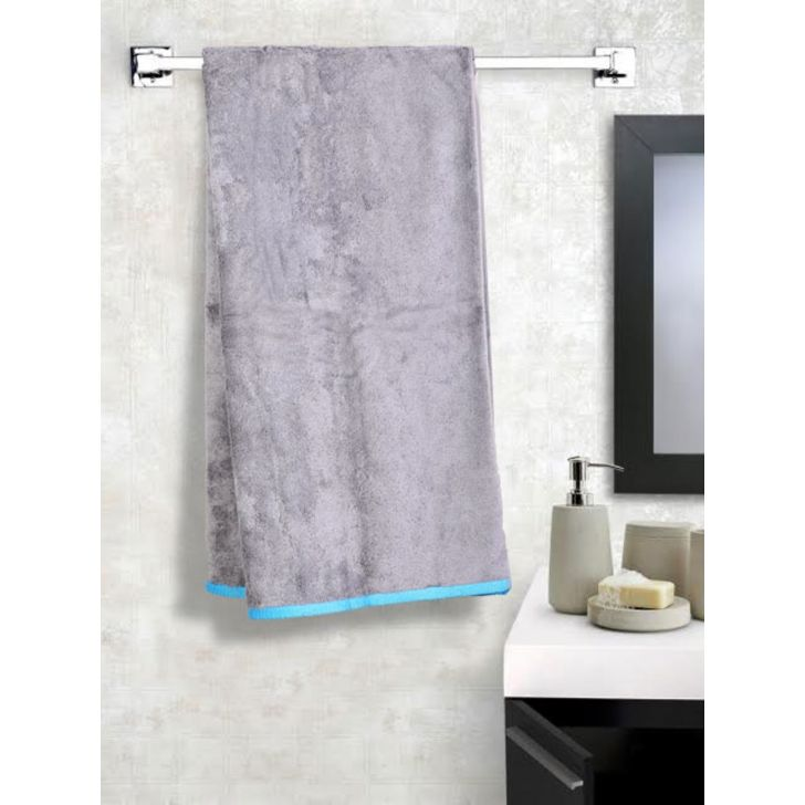 Contrast Hem Cotton Bath Towels in Grey Colour by Cannon