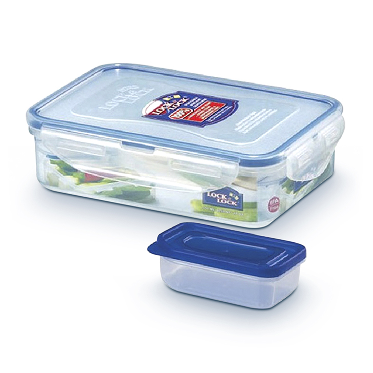 Lock & Lock Classics Rectangular Food Container with Sauce Case 550 ml Polypropylene Containers in Transparent Colour by Lock & Lock