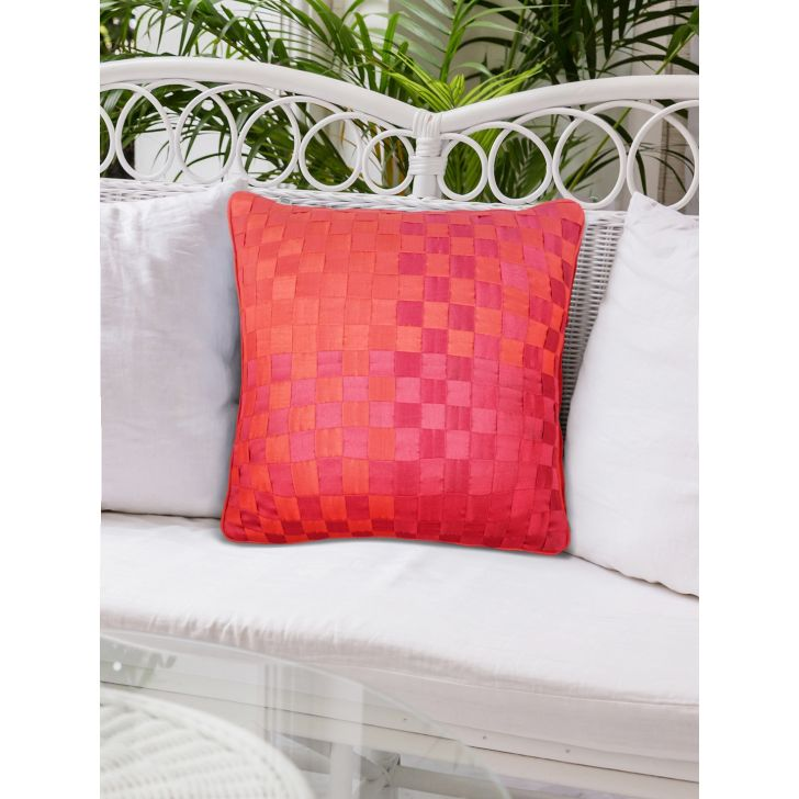 Basket Polyester Cushion Covers in Pink Mango Colour by Living Essence