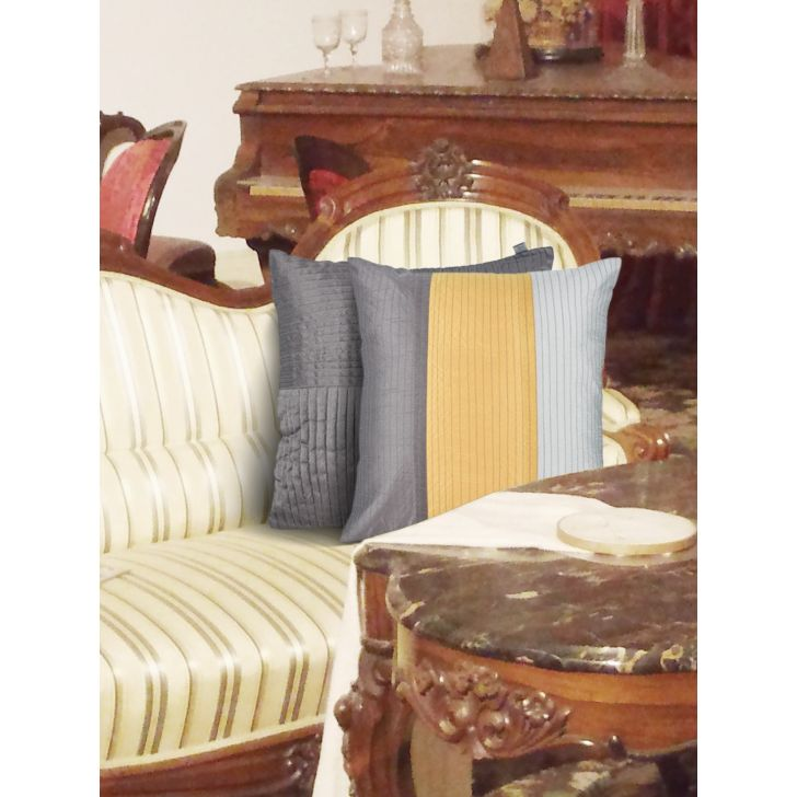 Fiesta Set Of 2  Cushion Cover 16X16 CM in Grey Colour by Living Essence