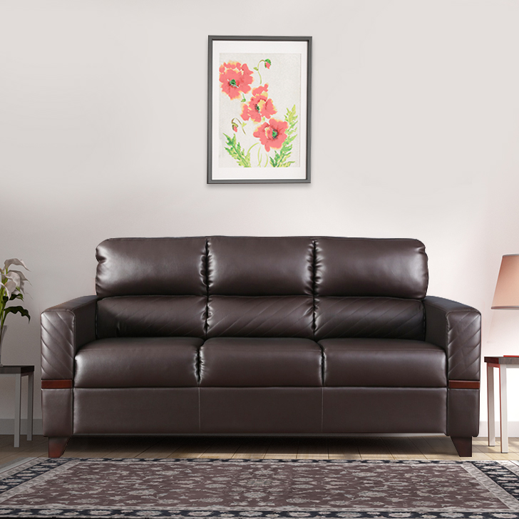 Benedict Fabric & Leatherette Three Seater sofa in Brown Colour by HomeTown