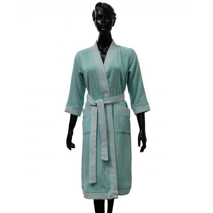 Spaces Hygro Bathrobe Aqua Medium Bath Robe