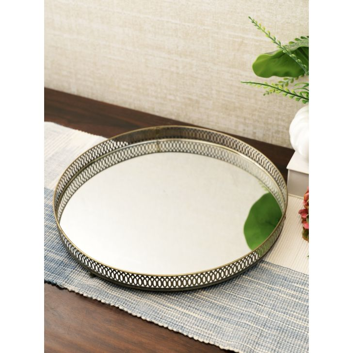 Darbar Metal Tray 35Cm in Gold Colour by Living Essence