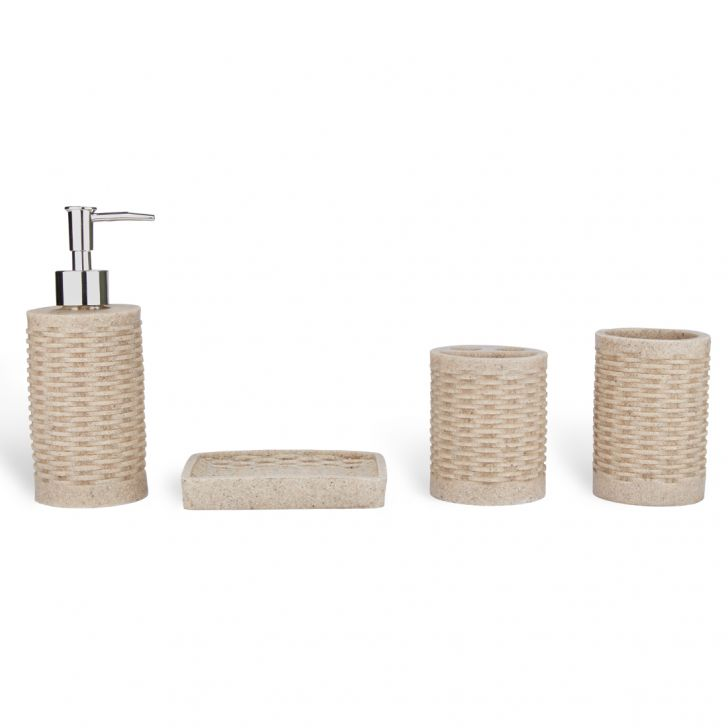 Bath Accessories Set of 4 Pieces Multi Colors Ceramic Bathroom Sets in Multicolour Colour by Living Essence