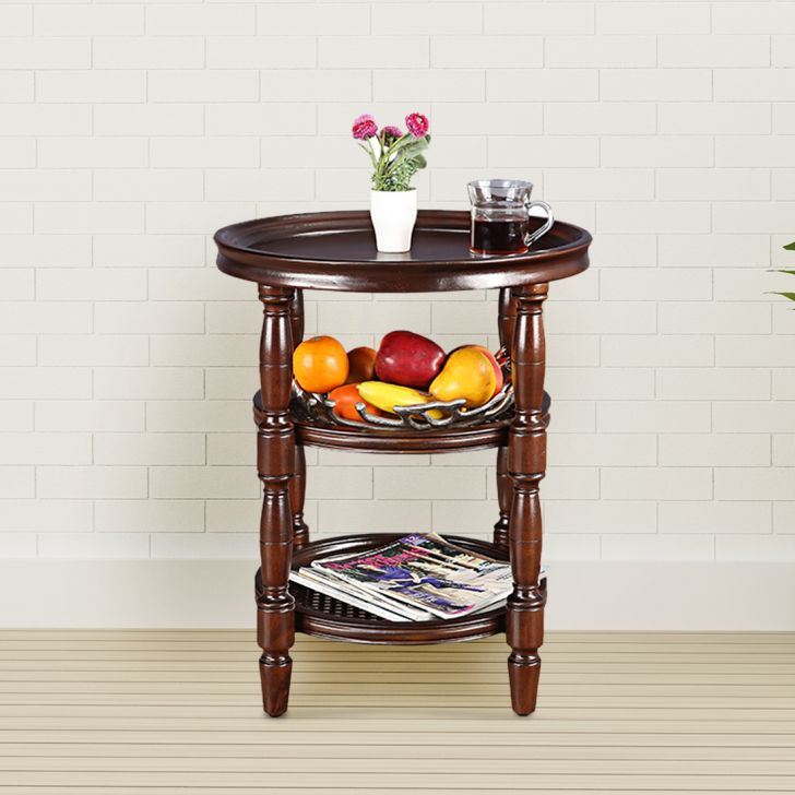 Smith Solid Wood Side Table in Brown Colour by HomeTown