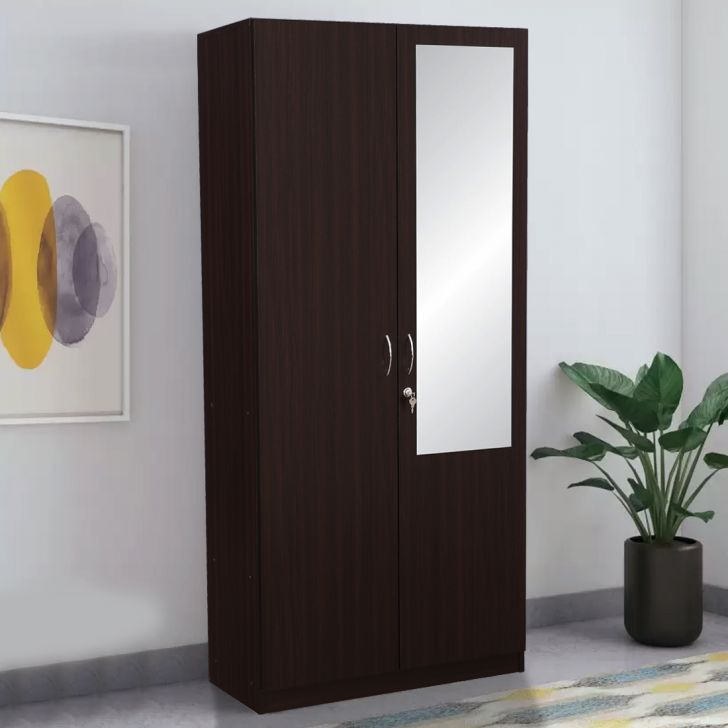 Allen Engineered Wood Two Door Wardrobe in Walnut Colour by HomeTown