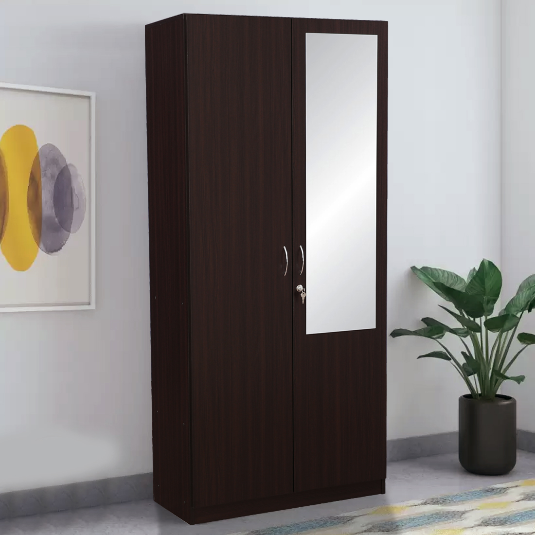 new product 4e521 d3198 Allen Engineered Wood Two Door Wardrobe in Walnut Colour by HomeTown