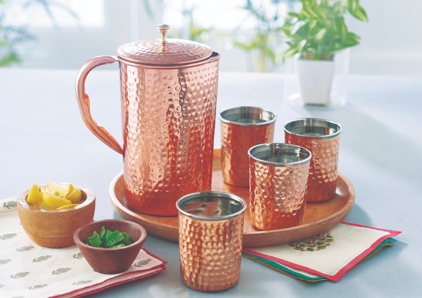 Copper Amrapali Glass Set Copper Glasses & Tumblers in Copper Colour by Songbird