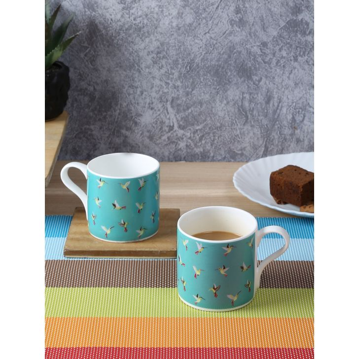 Bahamas Bone China Birds Tea Mugs Set of 6 in Multi Colour by Living Essence