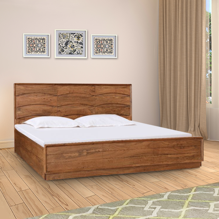 Nordland Acacia Wood Hydraulic Storage King Size Bed in Walnut Brown Colour by HomeTown