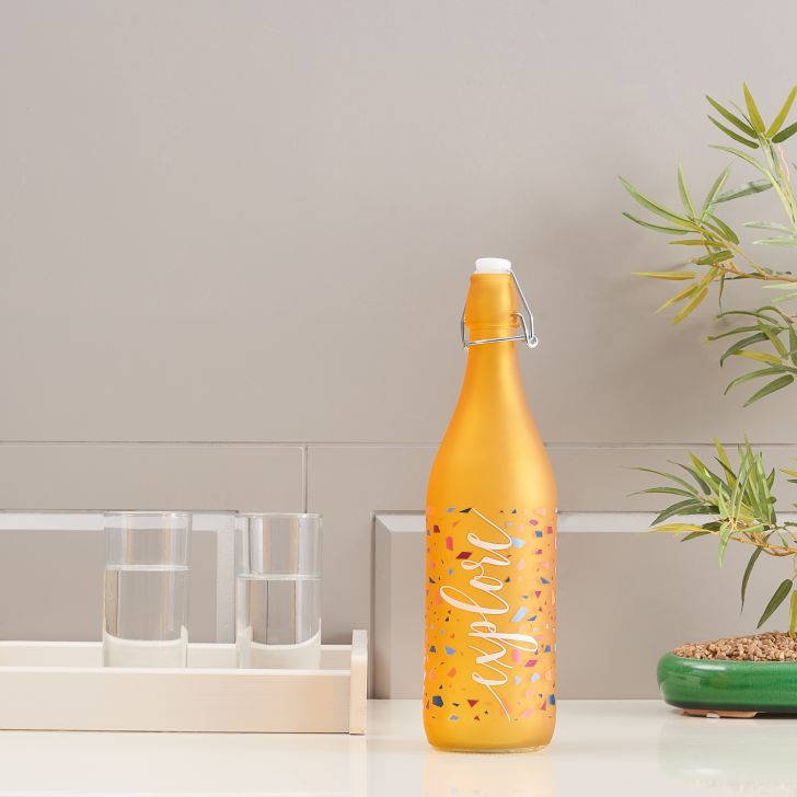 Milan Glass Yellow Frosted Bottle 1L in Yellow Colour
