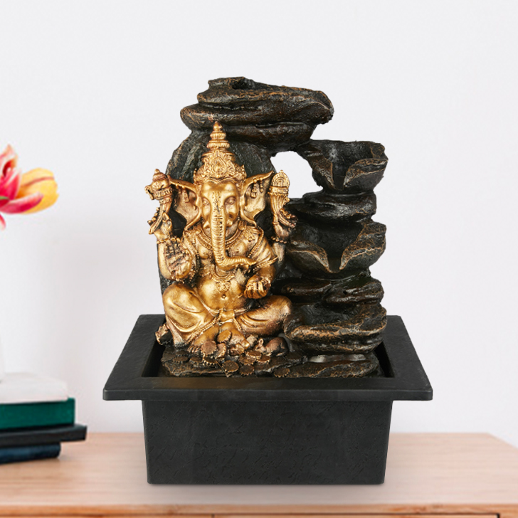 Impression Ganesha Pot Polyresin Small Fountains in Gold Antique Colour by Living Essence
