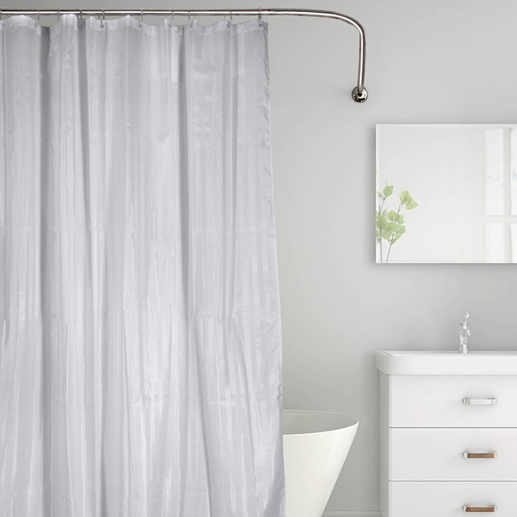 Tangerine Polyester Shower Curtain With Hooks Grey And White Polyester Shower Curtains in Grey And White Colour by Tangerine