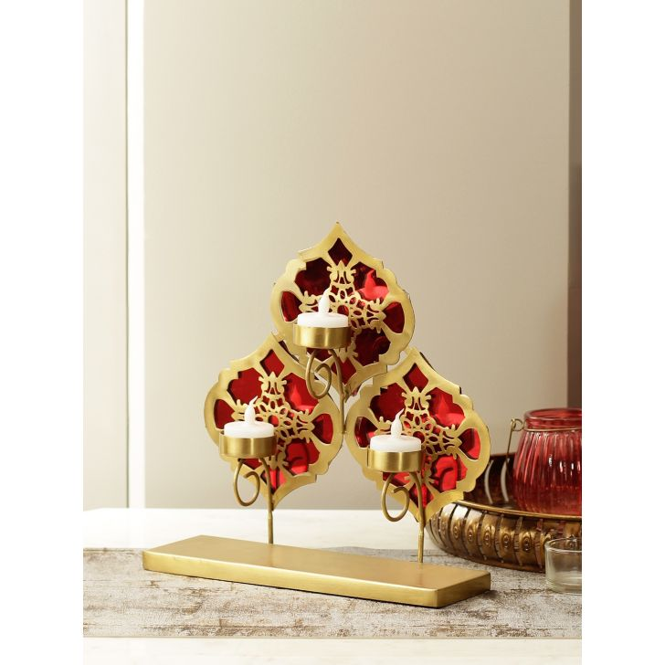 Mehr Glass Candle Holder in Red Gold Colour by HomeTown