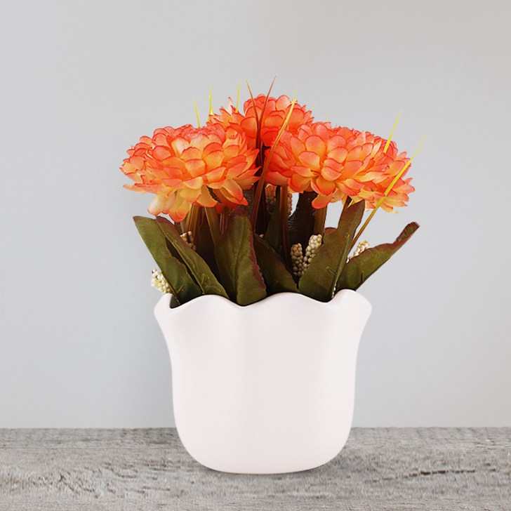 Dahlia Flower Pot Asrt Glass Artificial Flowers in White & Orange Colour by HomeTown