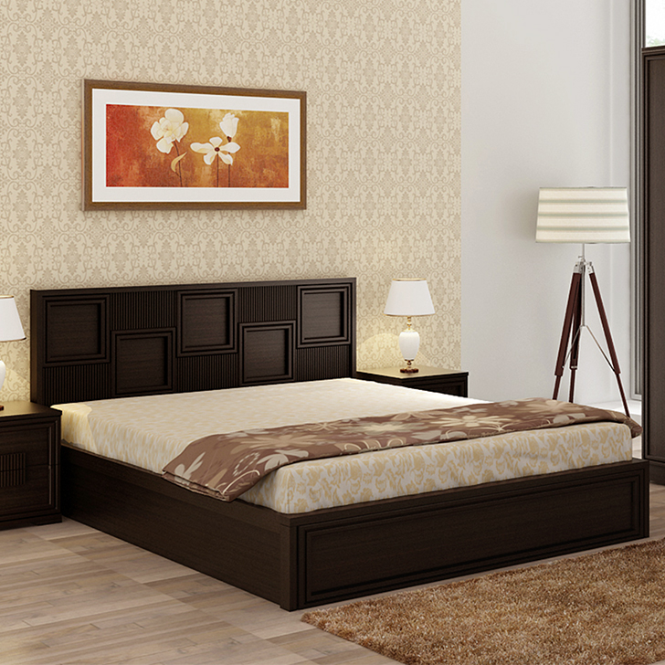 Majestic Engineered Wood Hydraulic Storage King Size Bed in Wenge Colour by HomeTown