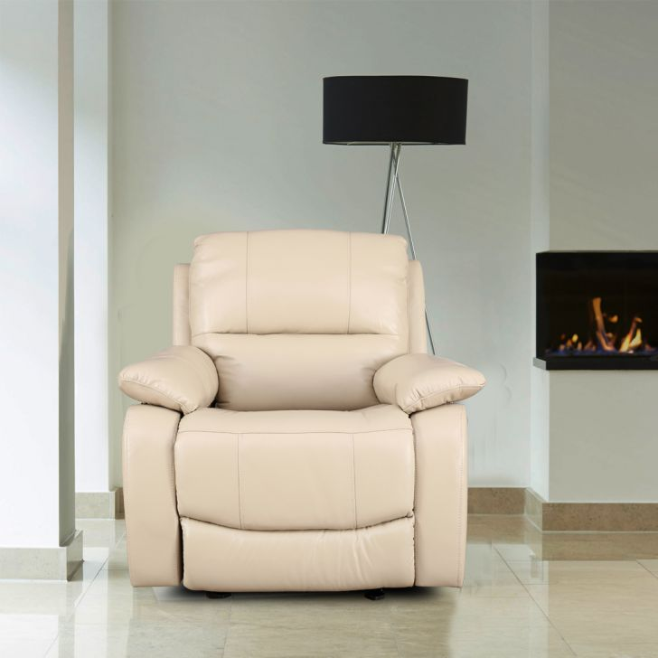 William Half Leather Single Seater Recliner in Beige Colour by HomeTown