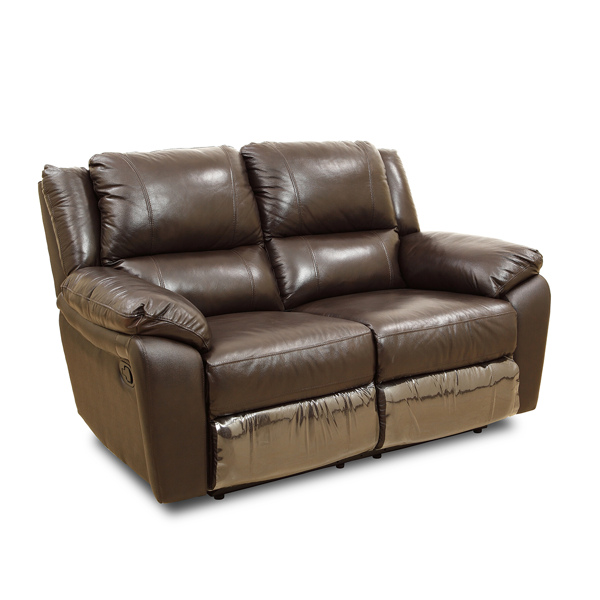 Alexander Half Leather Two Seater Recliner in Brown Colour by HomeTown