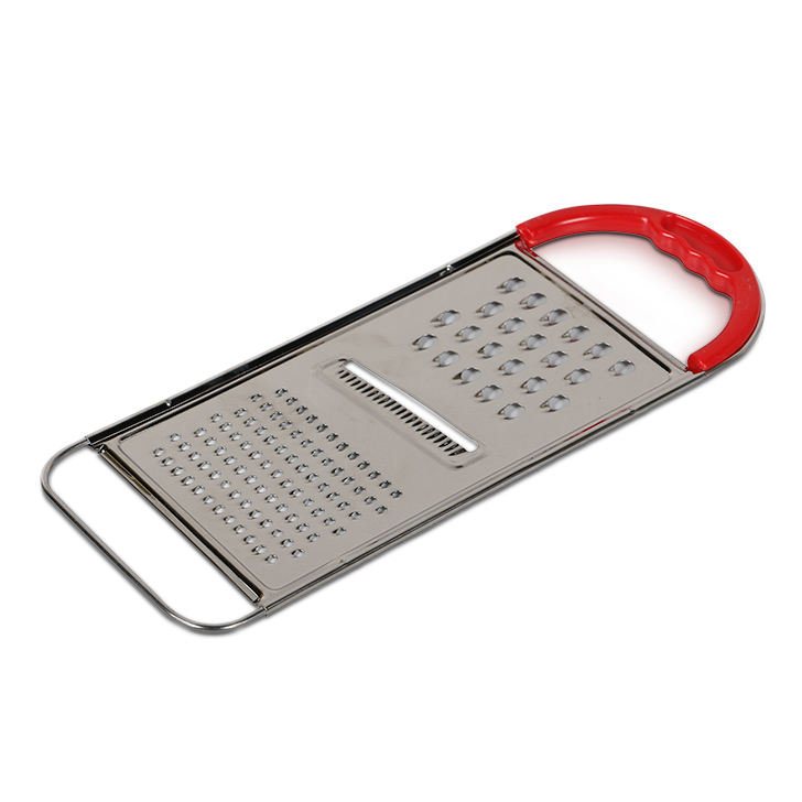 Stainless Steel Flat Grater Silver And Red Knives & Graters by Living Essence