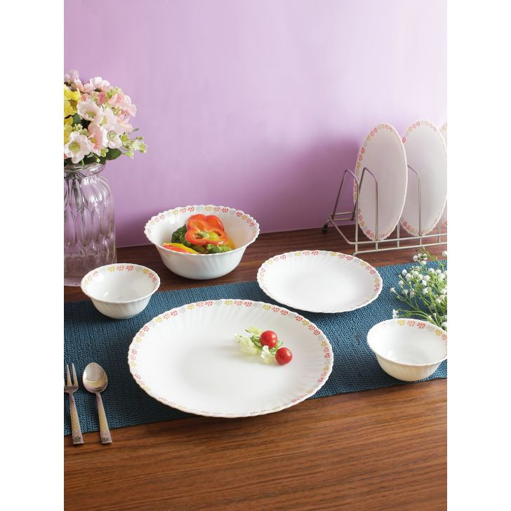 Fiesta Opalware Petal Dinner Set of 17 Pcs in White Colour by Living Essence