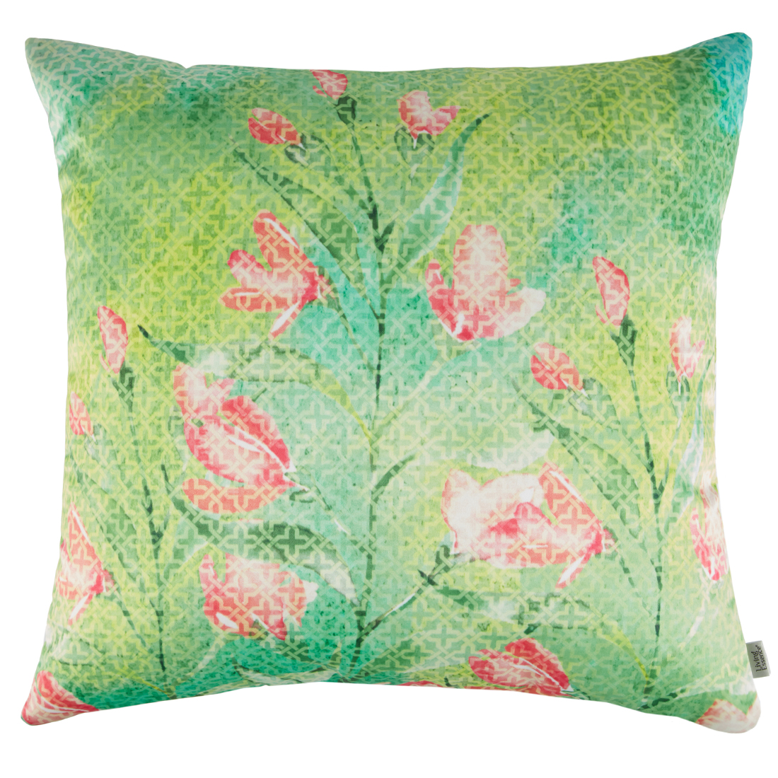 Digital Cushion Cover Green Multi Cushion Covers in Poly Satin Colour by Living Essence