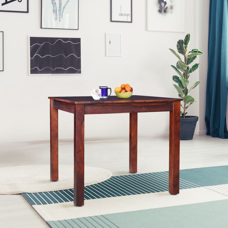 Jaxon Solid Wood 4 Seater Square Dining Table in Teak Colour