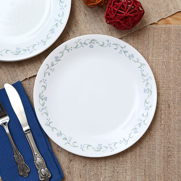 Corelle Country Cottage Dinner Plate Glass Plates in White Colour by Corelle