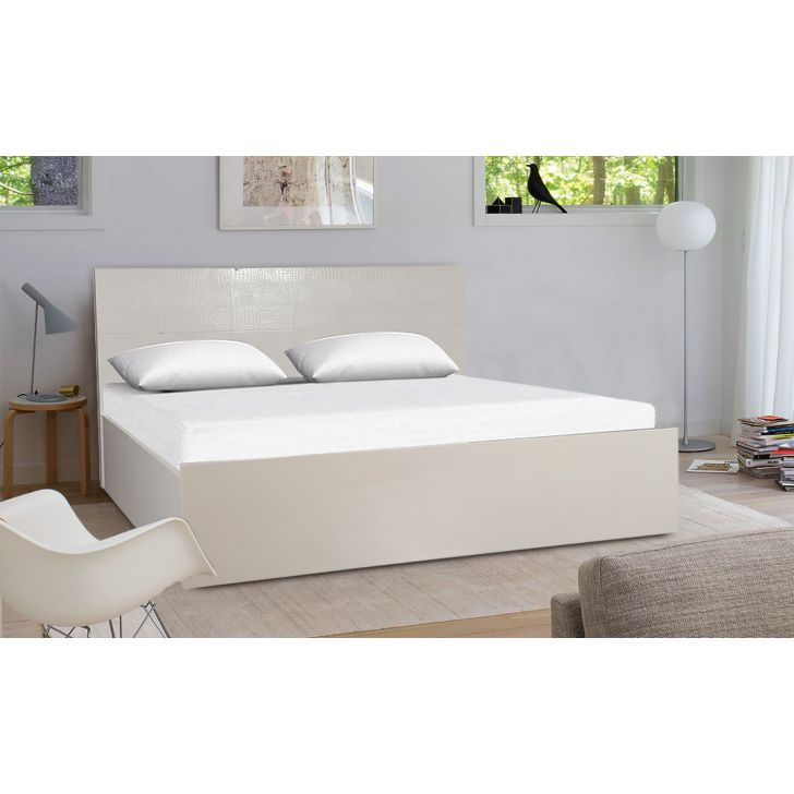 Fidora Engineered Wood Hydraulic Storage Queen Size Bed in White Colour by HomeTown
