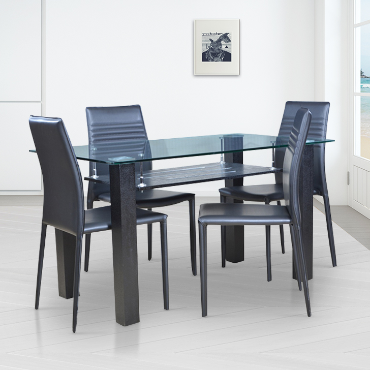 Presto Metal Four Seater Dining Set in Black Colour by HomeTown