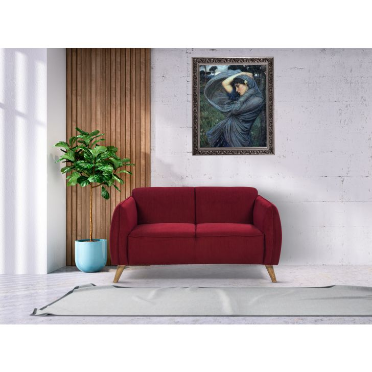 Brawny Solid Wood Two Seater Sofa in Maroon Colour