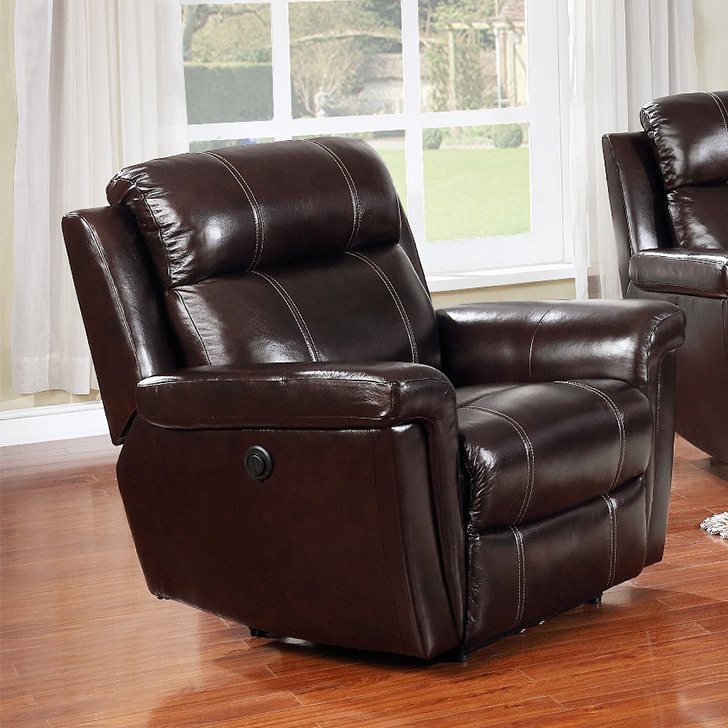 Gatwick Half Leather Single Seater Recliner in Dark Brown Colour by HomeTown