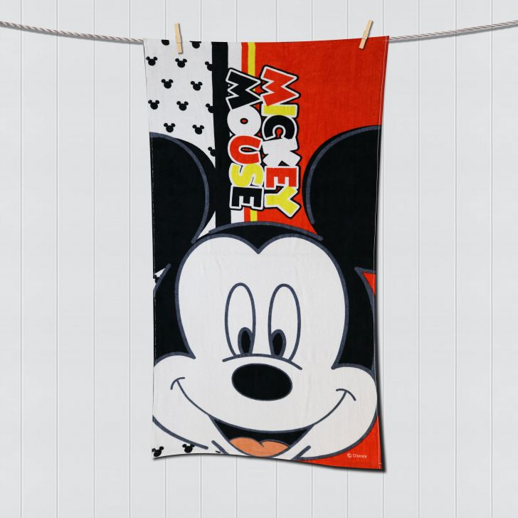 Spaces Disney Micky Red Bath Towel Cotton Bath Towels in Red Colour by Spaces