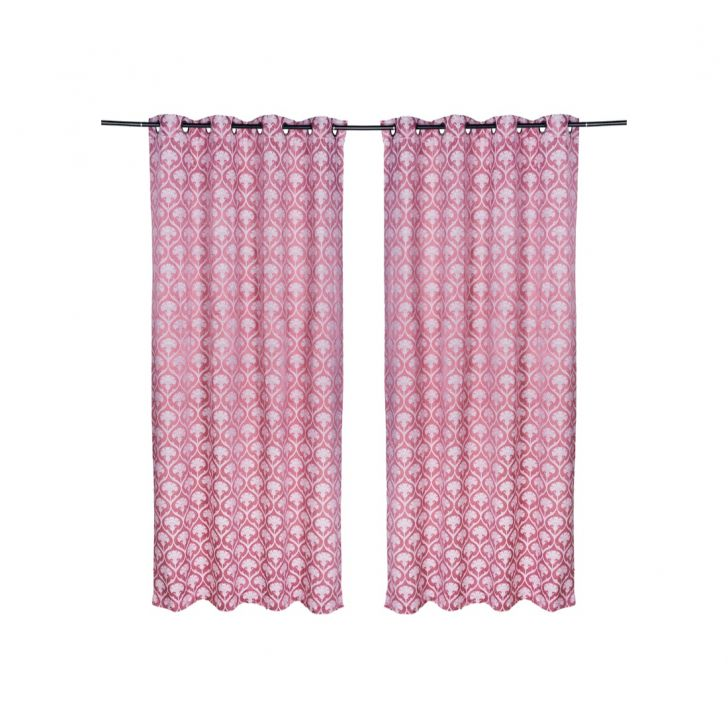 Fiesta  Set Of 2 Door Curtain 135X225 CM in Rose Colour by Living Essence