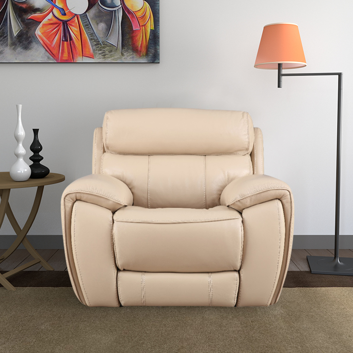Arnold Half Leather Single Seater Electric Recliner in Beige Colour by HomeTown