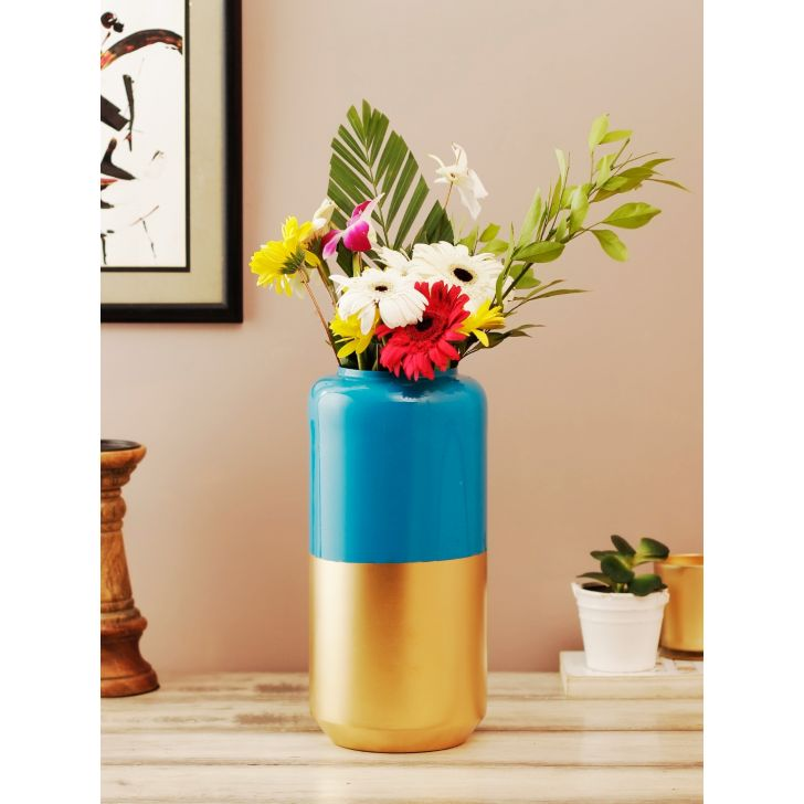 Allure Metal Vases in Blue Gold Colour by Living Essence
