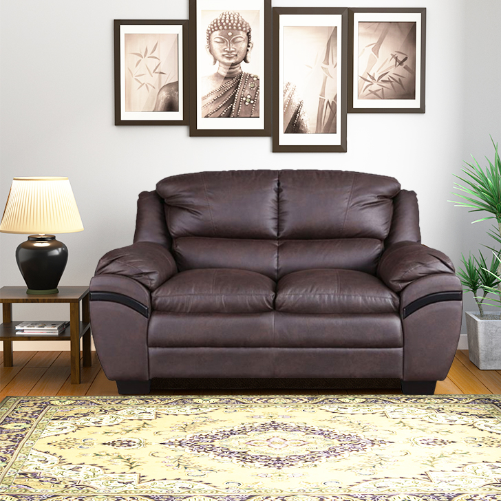 Eleanor Fabric Two Seater sofa in Dark Brown Colour by HomeTown