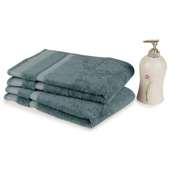 Spaces Hygro Forever Blue Cotton Hand Towel Set Of 2