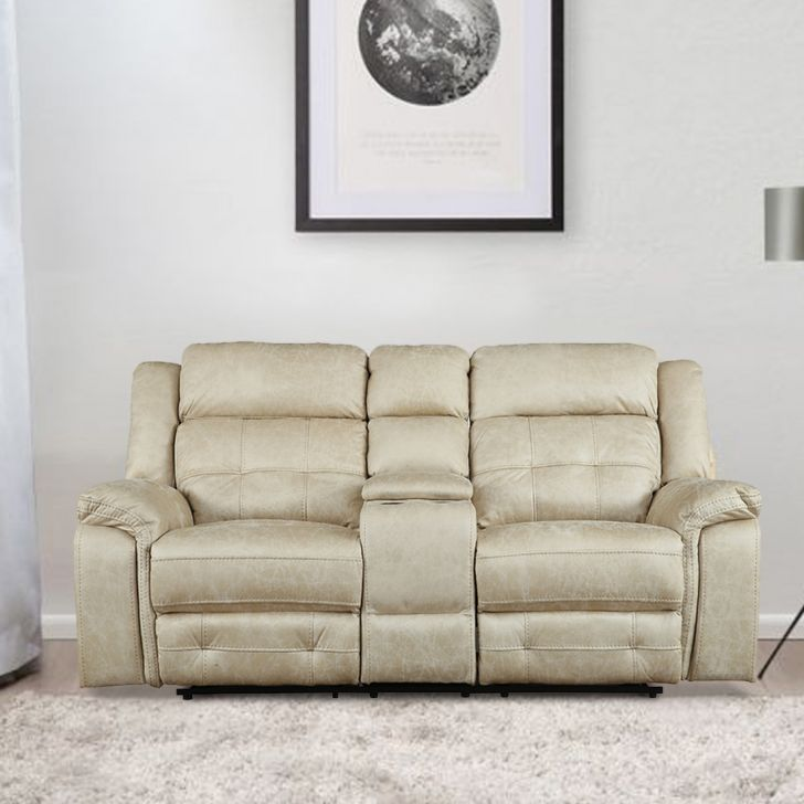 Zurich Fabric Two Seater Recliner in Beige Colour by HomeTown