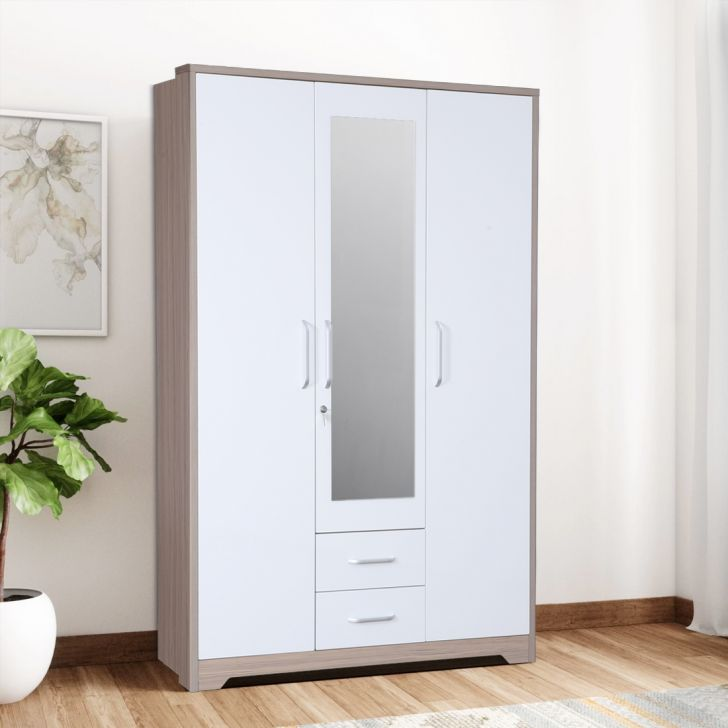 Ambra Engineered Wood Three Door Wardrobe in White & Larch Colour by HomeTown