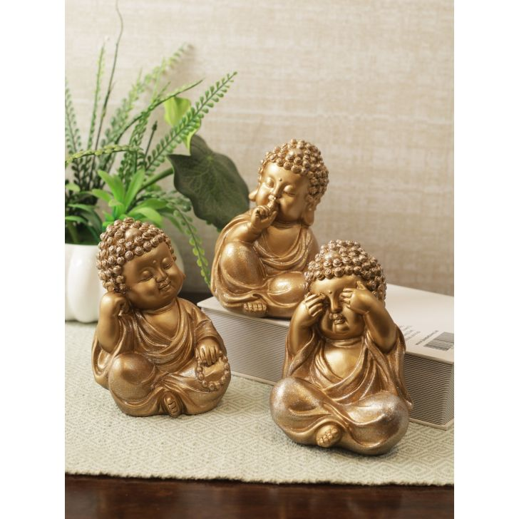 Naqsh Polyresin Three Monks Figurine Set of 3 in Gold Colour