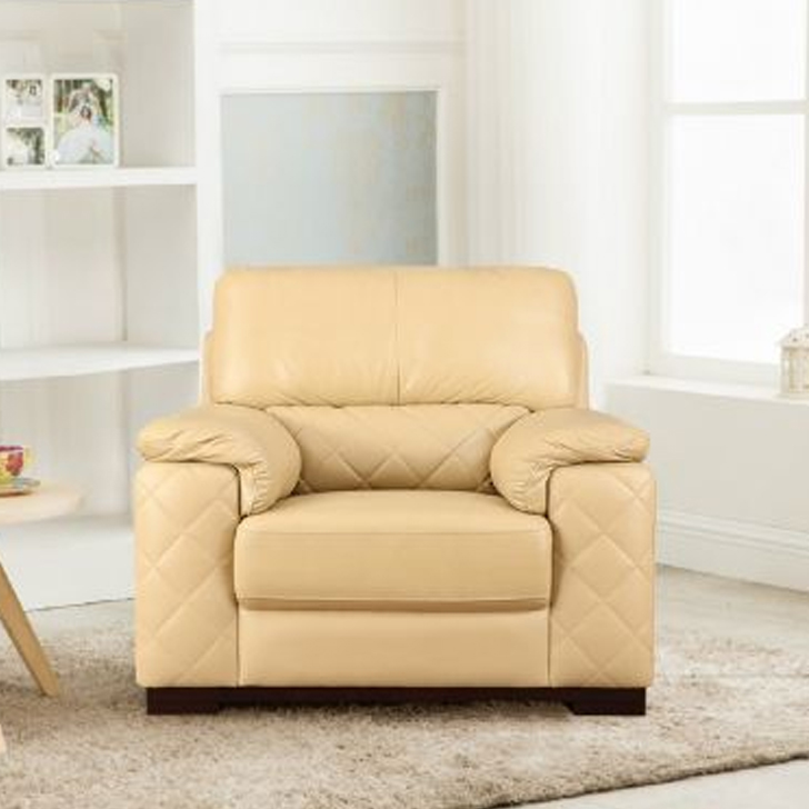 Tuscany Half Leather Single Seater sofa in Butterscotch Colour by HomeTown