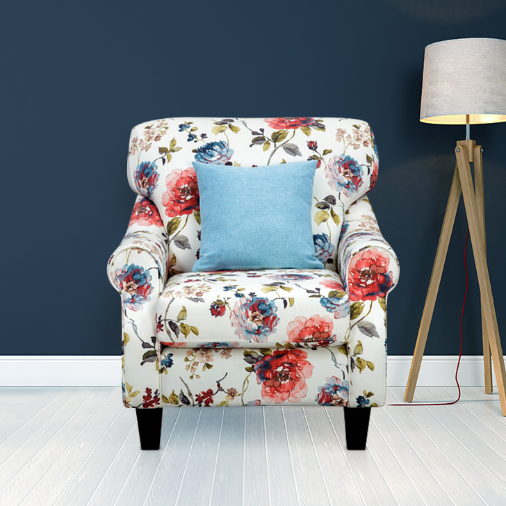 Opulence Fabric Single Seater Sofa in Multicolour Colour by HomeTown