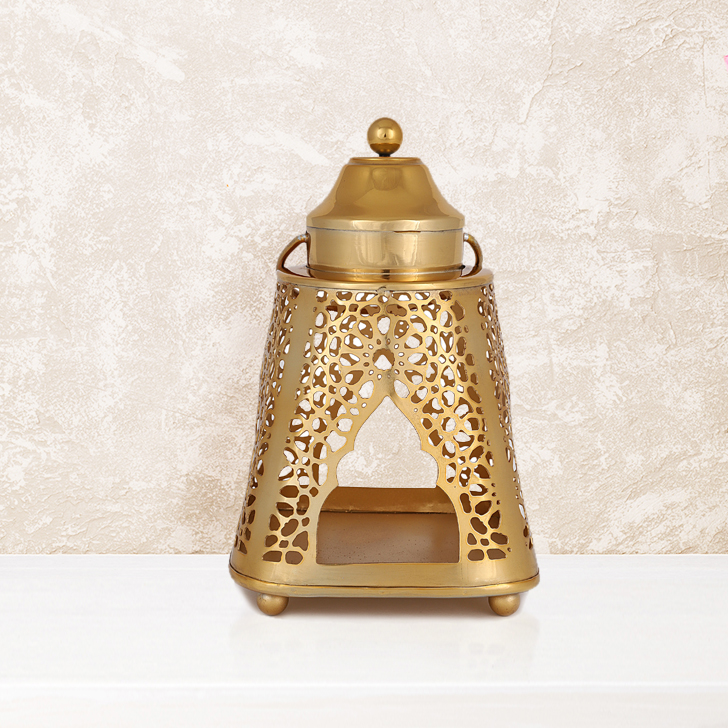 Mehr Phool Jaali Candle Holder With Handle Metal Candle Holder in Gold Colour by Living Essence