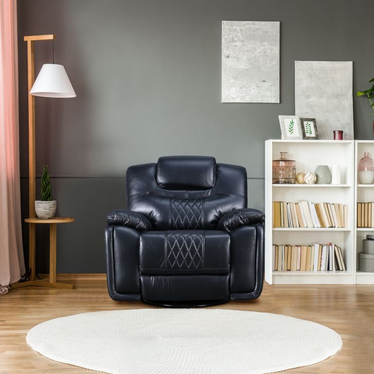 Volga Leatherette Single Seater Recliner in Black Colour by HomeTown